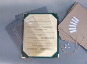 Accessories;Menu Cover accessories; menu clips, elastics, cardboard stiffeners, page protectors, screw posts