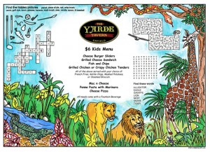 Animal Kid's Activity Restaurant Placemats with games and puzzles