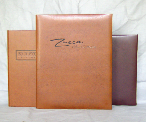 Astra and Napa Turned Edge Faux Leather Menu Covers