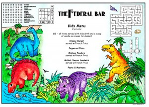 Colorful children's activity menus for restaurants
