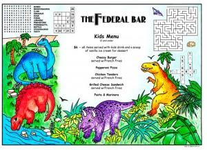 Colorful children's activity menus for restaurants