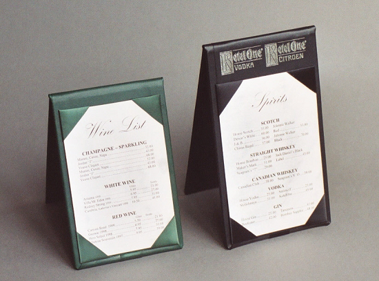 Restaurant Table Tents Table Top Displays By MenusPlus - Standard table tent size