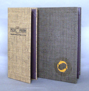 Del Mar Basket Weave Menu Covers, corner catch, top & bottom bars