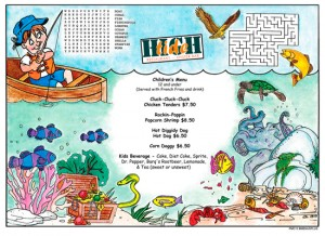 Fish'n Kid's Activity Placemats Menus for restaurants with games and puzzles