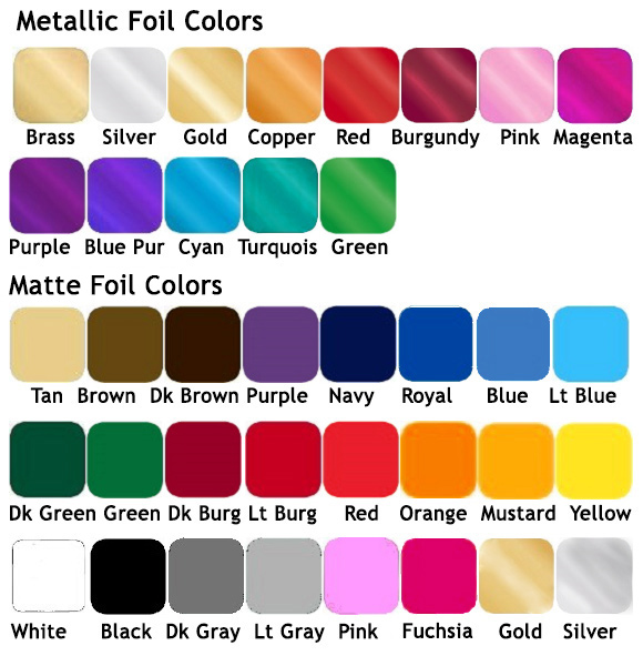 Foil Color Chart for Menu Covers, Wine List Covers, Check Presenters. Hotel Guest Directories