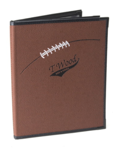 Sports Bar Menu Covers in Football Theme Book Style with Clear Pockets