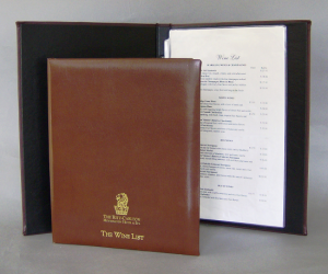Monterey Style Leather Wine List Covers / Wine Menu Books