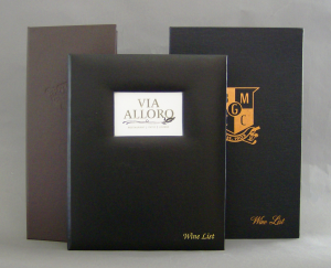 Monterey Permalin and Linen Wine Menu Covers / Books