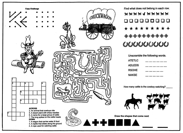 steak house old west back kids placemat coloring menus for restaurants