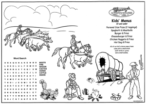 Old West Front of Kid's Coloring Placemats for restaurants