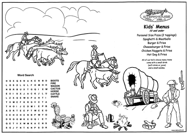 Pm09 Old West Kids Coloring Menus Front Restaurant Menu