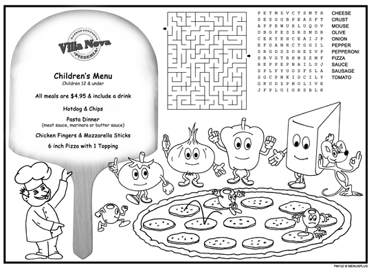 Kidu0027s Coloring Placemats For Restaurants  Free Kids Menu Templates