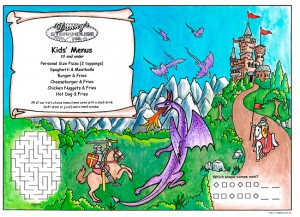 Dragon Kid's Activity Placemats menus for restaurants with games and puzzles