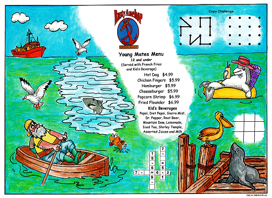 Sea Dock Kid's Activity Placemats for restaurants with games and puzzles