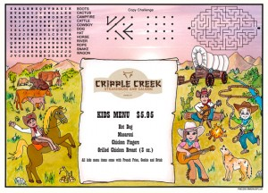 Western Cowboy Kid's Activity Placemats menus for restaurants with games and puzzles