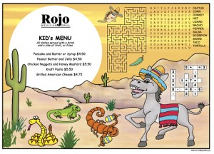 Southwest 2 kids placemat menus Mexican Restaurants