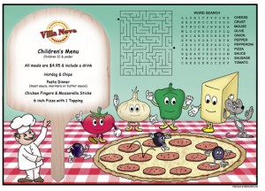 PMC222 - Pizza 2 Activity Children's Menus Restaurant Placemats