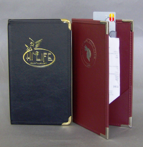 Royal Cafe Guest Check Holders in Durable Saddle Calf Faux Leather Material