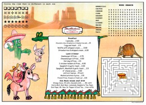 Southwestern theme Children's Activity Menus Placemats for Restaurants with games and puzzles