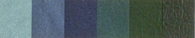 Twilight Imitation Leather menu covers Colors in blue and green shades