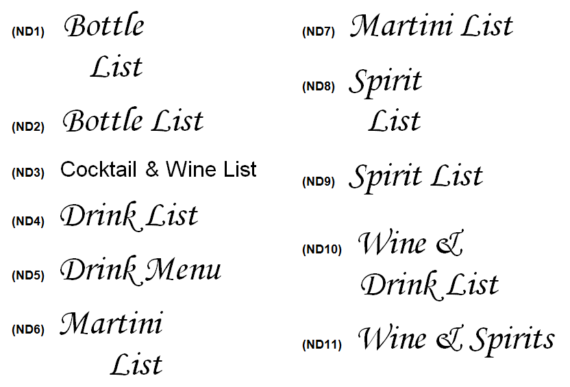 Wine List Covers decoration choices