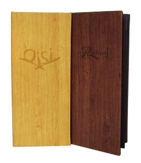 Faux Wood Menu Covers with case made constrution