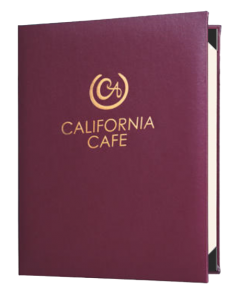 Plaza casebound menu covers in with gold foil decoration on jacket