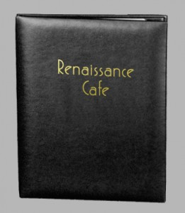 Quick Ship casebound leather restaurant menu cover