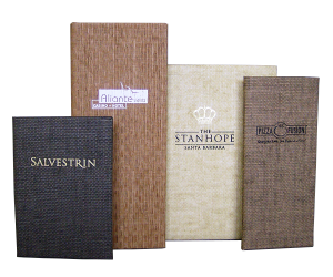 Casebound Basket Weave Unique Menu Covers for restaurants