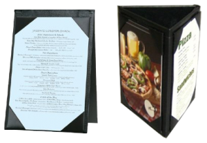 Restaurant Menu Covers Hotel Restaurant Supplies Made In USA - 3 sided table tents