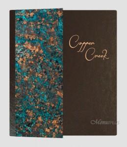 Custom Menu Covers, Copper Metal custom designed menu covers